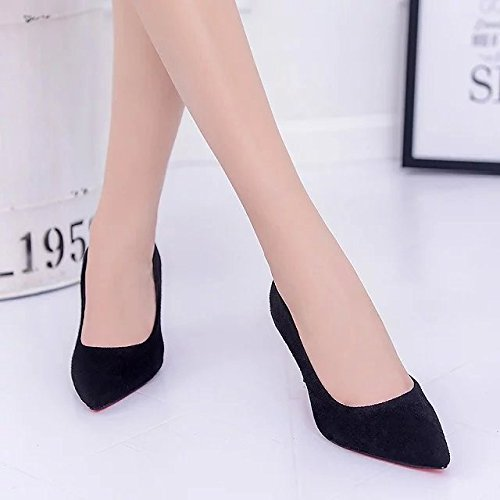 painted with shoes work shoes satin women Xue a tip Satin leather Black heeled Qiqi black fine lady High shoes sweet WR6zX