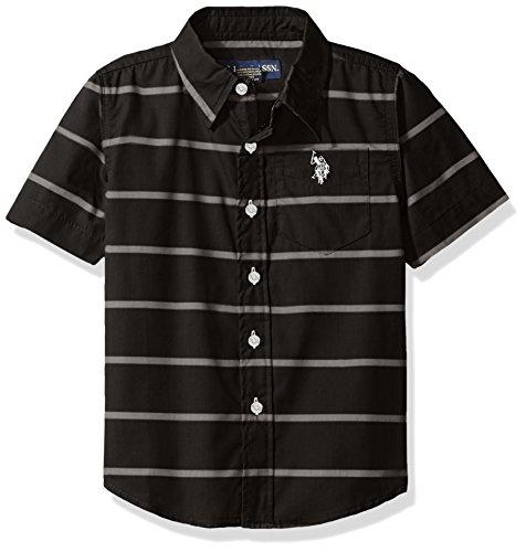 U.S. Polo Assn. Boys' Big Short Sleeve Cotton Printed Woven Shirt, HD76-Black, 18