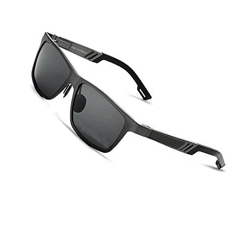 VEITHDIA 6560 Fashion Mirrored UV400 Polarized Driving Sunglasses for Men Women (Black, ()