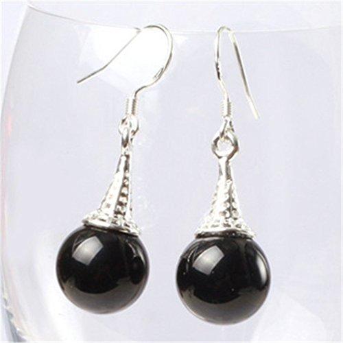 (GEM-inside Earrings Black Agate Gemstone Beads Round Natural Tibetan Silver Dangle Stud Hoop Fashion Jewelry for Woman 10mm )