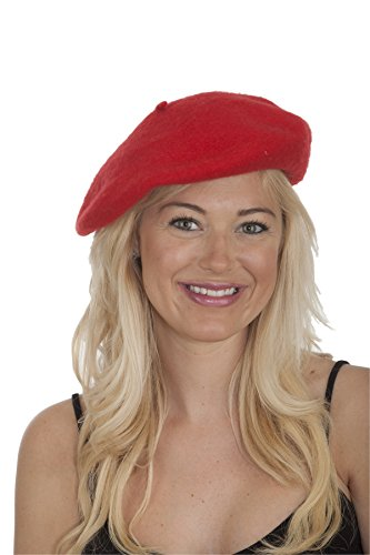 Jacobson Hat Company Women's Wool Beret, Red, Adult -