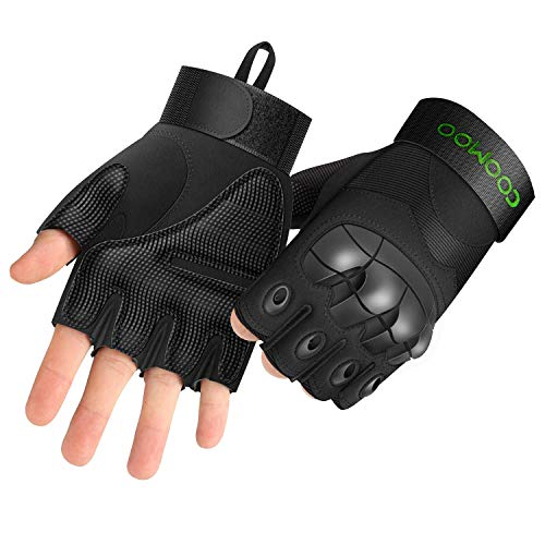 UP UPKJ Tactical Fingerless/Half Finger Gloves Military Rubber Hard Knuckle Gloves Cycling Gloves Motorcycle Gloves fit for Airsoft Paintball Hiking Camping(Black, Size L)