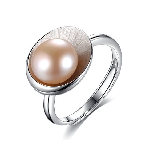 Women Fashion pearl engagement rings | 925 Sterling Silver Cultured Pearl Rings | Freshwater Vintage Pearl Rings For Women | Perfect Promise Rings For Valentine's Day (Purple)