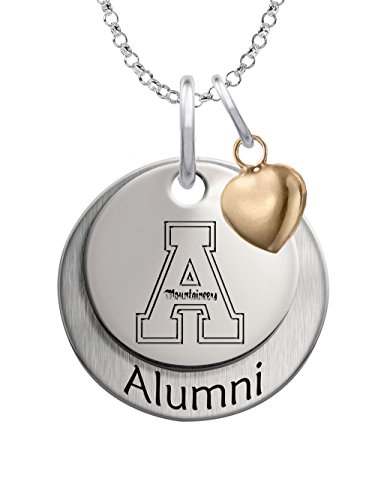 Appalachian State University Mountaineers Sterling Silver Stacked Alumni Charm Necklace with Heart Accent (State University Necklace Charm)