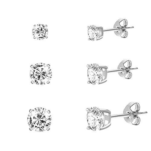 [18K White / Gold Sterling Silver Round Cubic Zirconia 3-Pair Stud Earring Set (White Gold)] (Red Skull Costume Uk)