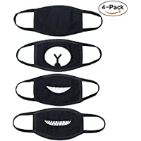 Mouth Mask, Anti Dust Mask Cotton Mask, Unisex Kpop Mask EXO Mask Flu Germs Filters for Men and Women - 4pcs A Set