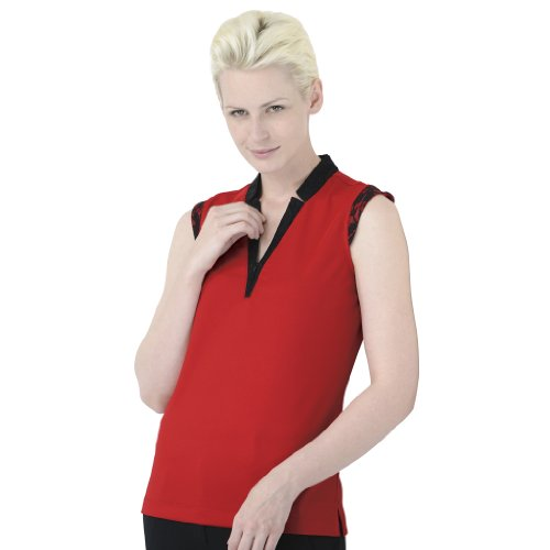 Monterey Club Ladies Dry Swing Lace Contrast Notched Collar Shirt #2191 (Venetian Red/Black,Medium)