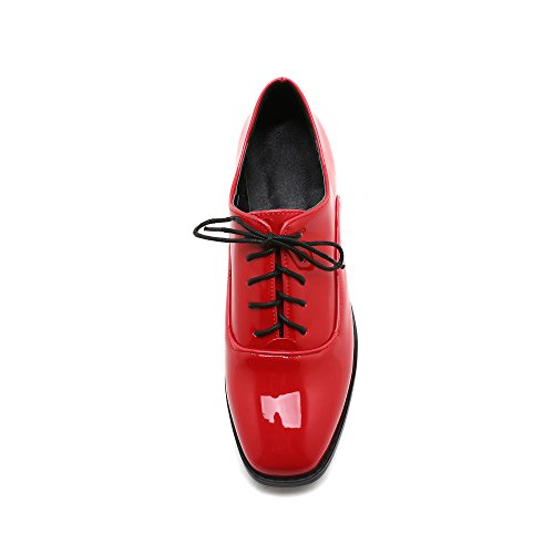 Show Shine Dames Casual Vetersluiting Ruige Hak Oxfords Schoenen Rood