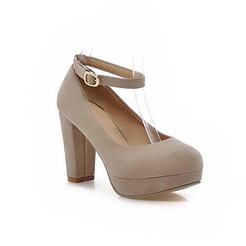 BalaMasa donna solido fibbia high-heels Imitated scamosciata pumps-shoes, Beige (Beige), 35