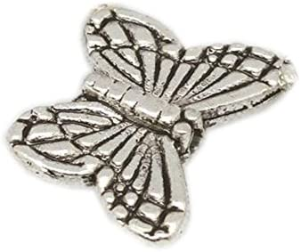 10MM TIBETAN SILVER BUTTERFLY PENDANTS 25 OR 50 IN A PACK