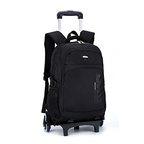 YUB Trolley School Bags Student Boys Rolling Backpack Schoolbag with Wheels Waterproof Black with Six Wheels