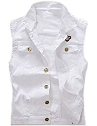 FL Men's Comfortable Stylish Cool Outwear Denim Vest Sleeveless Jacket White