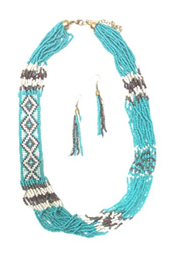 Royal Mustang 26 Inch Turquoise Beaded Seed Beads Western Hippy Aztec Necklace Earrings Set Brown