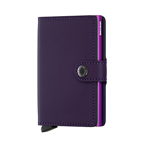 (Secrid Mini Wallet, Matte Purple, Genuine Leather, RFID Safe, Holds up to 12 Cards)