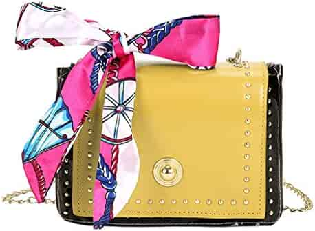 e0e6e8df54822 Vielgluck_Bag Mutifunction Crossbody PU Leather Bag with Chain Strap for Women  Girls, Bowknot Silk Shoulder