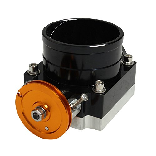 90mm High Flow Alloy Aluminum CNC Billet Intake Throttle Body Universal Black (Throttle Billet Body Aluminum)