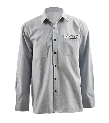 Very Last Shop Classic Movie The Shaws Redemption Andy Costume Shirt Prison Uniform Costume (Gray, US (Shawshank Redemption Costumes)