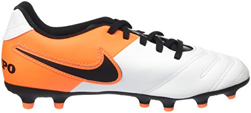Nike Jr Tiempo Rio Iii Fg, Botas de Fútbol Unisex Bebé Blanco (White / Black-Total Orange)