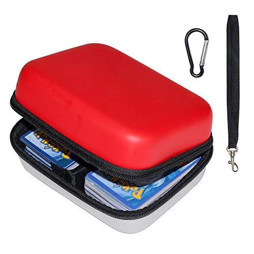 Brappo Carrying Case for Pokemon TCG Cards with Hand Strap, Card Holder Fits up to 500 Cards (Red and White) (Pokemon Strap)