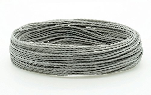 (GREY 1mm Waxed Polyester Twisted Cord Macrame Bracelet Thread Artisan String (30yards Skein))