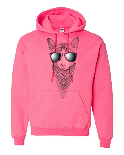 Cat Sunglasses Bandana Animal Lover Mens Womens Hoodie Dark Pink - Grumpy Cat Sunglasses