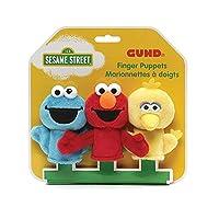 GUND Sesame Street Finger Puppets Set of 3 Elmo, Big Bird and Cookie Monster