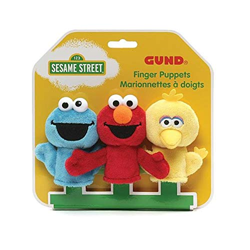 - GUND Sesame Street Finger Puppets Set of 3 Elmo, Big Bird and Cookie Monster