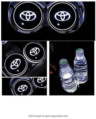 2 Pezzi EPHVAN Decorazione per Auto 7 Colori cangianti per Toyota Tappetino di Ricarica USB a LED Tappetino per portabicchieri con Logo a LED per Auto