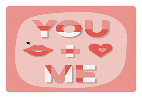 Kiss Lips Xoxo (Lunarable You and Me Pet Mat for Food and Water, Romantic Saying with Lips Hearts Kisses Xoxo Celebration Theme, Rectangle Non-Slip Rubber Mat for Dogs and Cats, Coral Pale Pink and White)