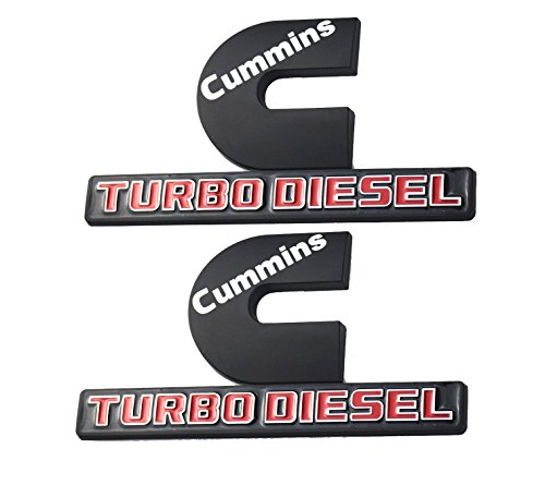 2 Pack Cummins Turbo Diesel Emblems, Badges High Output Nameplate Replacement Sticker for Dodge RAM 2500 3500 Fender Emblem Mopar (Black)