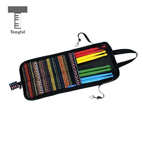- DDV-US - Novelty Drum Sticks Storage Bag Holder with 4 Pais of Drumsticks Mallets Set for Drummer Stage Accessory