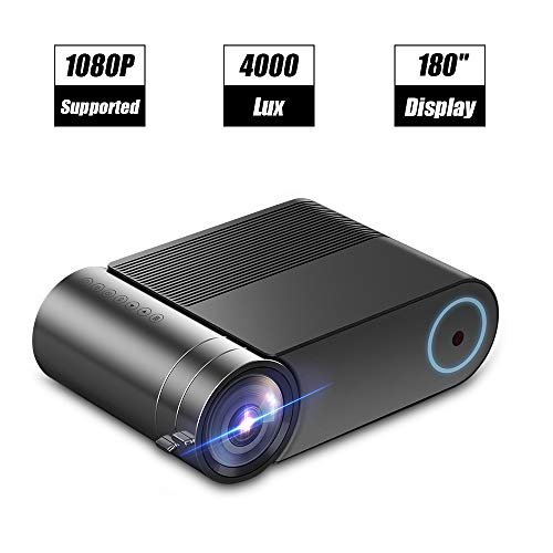 "Laiduoao Video Projector, 1080P Mini Projector 4.3 ""LCD Light Projector with 180"" Display Area, 4000 Lumen Portable Projector with 50,000 Hrs LED Lamp Life, Full HD Projector"