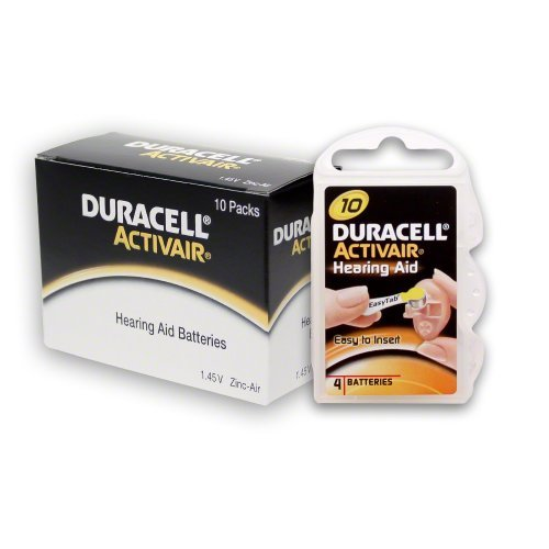 40 Duracell Hearing Aid Batteries Size: 10