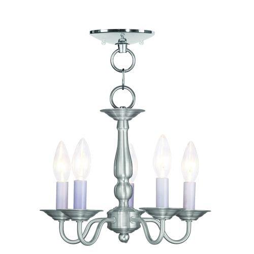 Light Five Brushed Nickel Colonial (Livex Lighting 5011-91 Williamsburg 5-Light Convertible Hanging Lantern/Ceiling Mount, Brushed Nickel)
