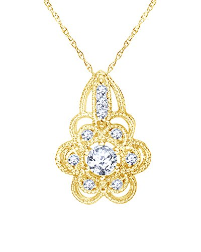 (Round Cut Natural Diamond Vintage-Style Flower Pendant in 10K Solid Gold (0.37 Cttw))