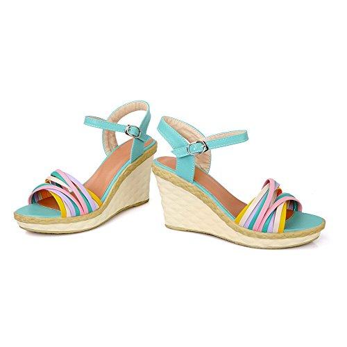 Allhqfashion, Donna, Tacco Alto, Materiale Morbido, Fibbia Colore Assortito, Zeppe Open Toe-sandali Blu