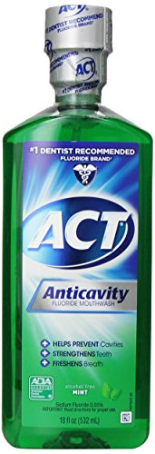 Act Fluoride Rinse (ACT Anticavity Fluoride Mouthwash, Mint, Alcohol Free, 18-Ounce Bottle (Pack of 6))
