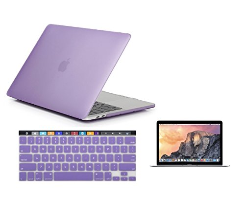 Lavender Faceplates (Raidfox MacBook Pro 15 A1707 Touch Bar / ID 3-in-1 Accessories - Plastic Hard Case Soft Silicone Keyboard Cover HD Clear Screen Protector - LATEST 2016 Mac Pro 15.4 Inch - Frosted Matte Light Purple)