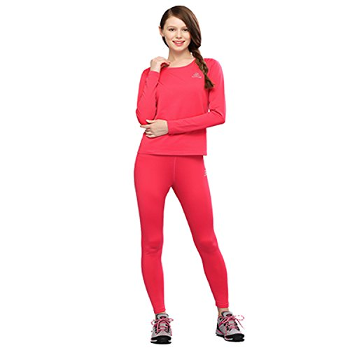 The First Outdoor Women's Thermal Underwear Set Top & Bottom Fleece Lined X-Large Rose Red