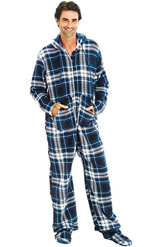Alexander Del Rossa Men's Warm Fleece One Piece Footed Pajamas, Adult Onesie with Hood, 3XL Blue and White Plaid (A0320P273X)
