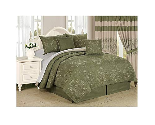 All American Collection New 6pc Circle Reversible Embroidered Bedspread/Quilt Set (Cal King 6pc, Sage)