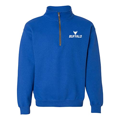 AQ07 - University at Buffalo Bulls Primary Logo LC (1/4) Quarter Zip - Large - Royal