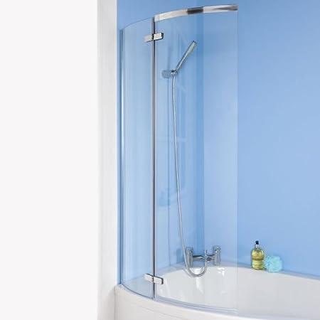 Hudson Reed ERCS0-C Mampara de baño, cristal para bañera o ducha curva, 730 x 1400 mm, reversible: Amazon.es: Bricolaje y herramientas