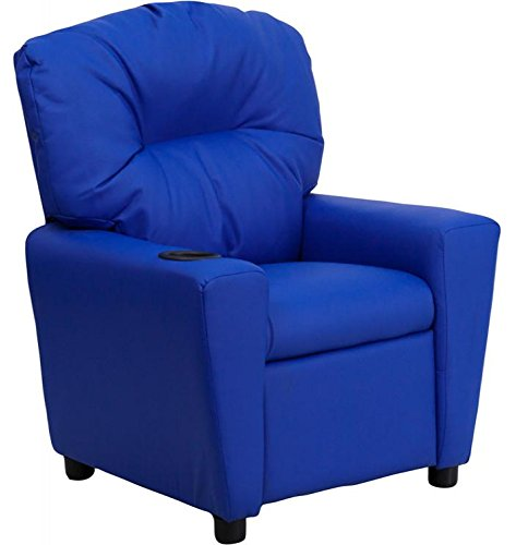 Flash Furniture BT-7950-KID-BLUE-GG Contemporary Blue Vinyl Kids Recliner with Cup Holder