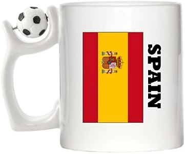 Diseño de bandera de España taza de fútbol de Spinning: Amazon.es ...