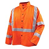 Revco JF1012-OR 30'' Hi-Vis 9 oz. Flame Resistant Cotton Welding Jacket