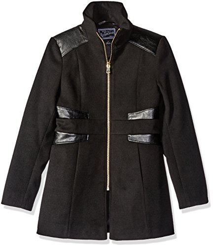 Rothschild Big Girls' Faux Wool Coat with Pleather Trim, Black, 12 by Rothschild