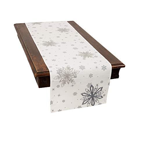Camino de Mesa de Copos de Nieve de Vidrio de la Marca Xia Home, 40,64 cm x 177,8 cm, Color Blanco