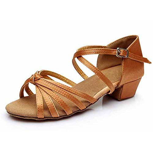 Girls Latin Salsa Dance Shoes Ballroom,Heel 3.5CM,Brown,10.5M US,Little Kid