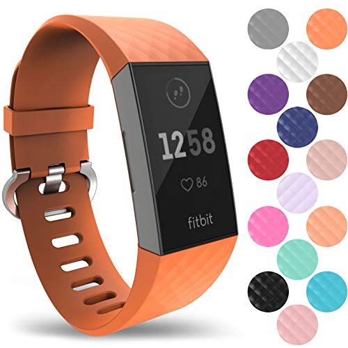 Yousave Accessories Fitbit Charge 3 Bands, Replacement Silicone Fitbit Charge 3 Band, Sport Wrist Strap for The Fitbit Charge 3 - Small - Orange